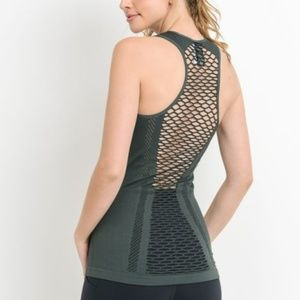 Green Lattice Combo Detail Tank Top